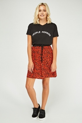 Leopard Print Mini Flared Skirt