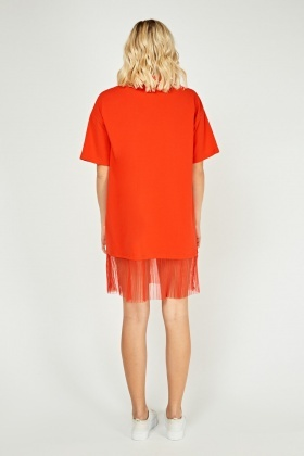 Pleated Mesh Polo Shirt Dress