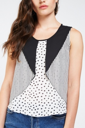 Polka Dot And Stripe Contrast Top