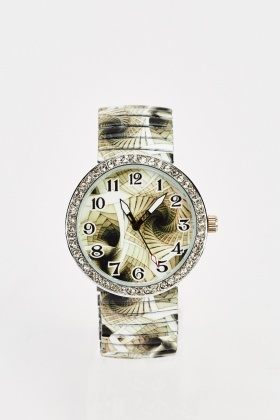 Printed Encrusted Face Watch