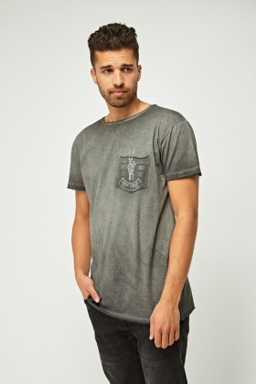 Printed Pocket Front T-Shirt