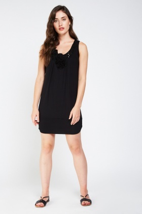 Sequin Embellished Ruched Dress