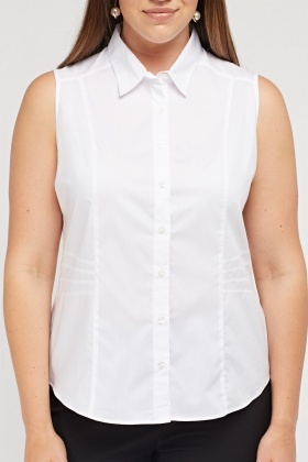 Sleeveless Button Front Shirt