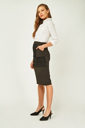 Crochet Lace Overlay Pencil Skirt