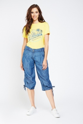 Encrusted Ruched Hem Crop Trousers