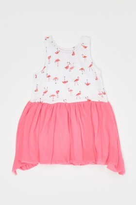 Flamingo Print Frilly Hem Dress