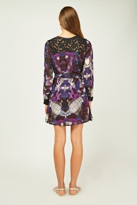 Lace Insert Printed Tunic Dress