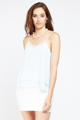 Lace Trim Chiffon Camisole Top