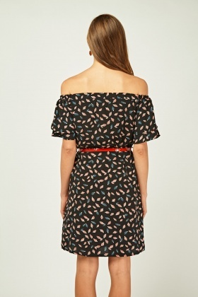 Leaf Printed Off Shoulder Dress
