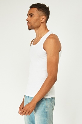 0bb19aa221b Mens Pack Of 2 White Tank Tops
