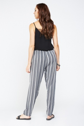 Mixed Tile Print Tapered Trousers