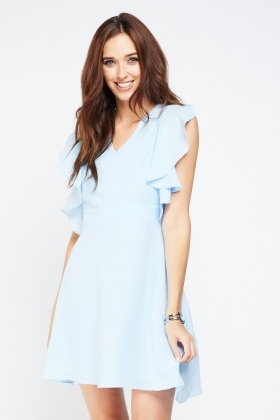 Ruffle Layered Chiffon Tea Dress