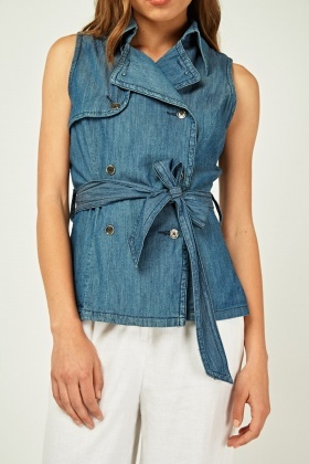 Sleeveless Structured Denim Top