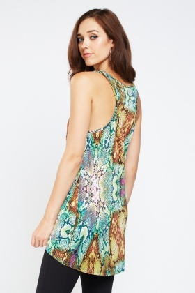 Snake Skin Print Long Shell Top