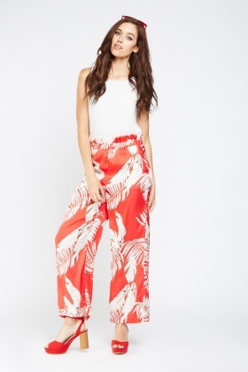 Tropical Printed Wide Leg Trousers
