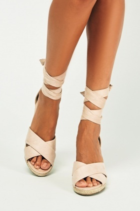 Crossed Strap Wedge Sandals
