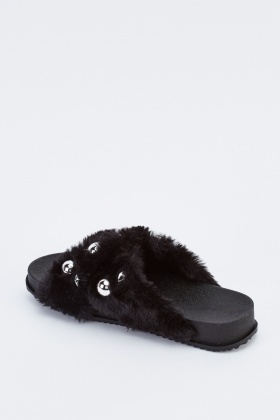 Embellished Faux Fur Sliders