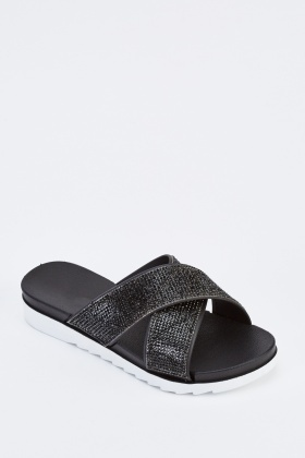 Encrusted Cross Over Sandals