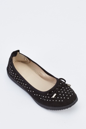 Encrusted Suedette Ballet Pumps