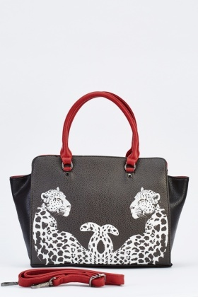 Leopard Print Textured Frame Bag