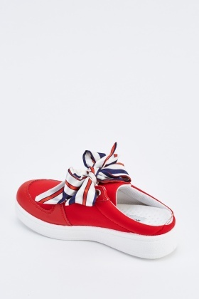 Ribbon Lace Up Slip On Trainers
