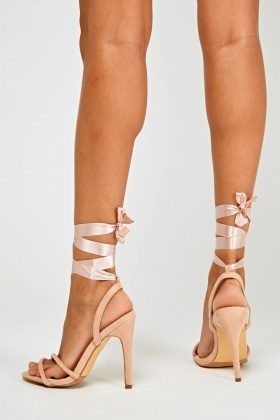 Sateen Tie Up High Heel Sandals