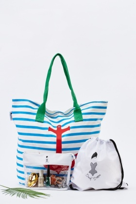 Stripe Casual Beach Bag Set