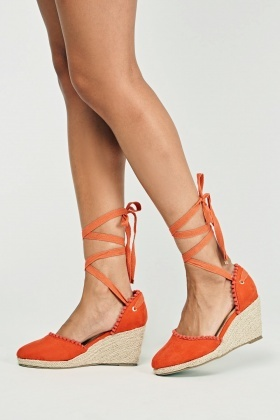 Suedette Tie Up Wedge Shoes