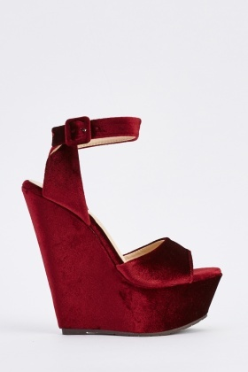 Velveteen Wedge Sandals