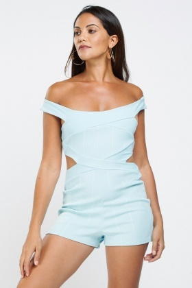 Cut Out Side Ribbed Playsuit