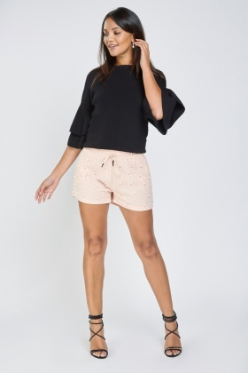 Faux Pearl Embellished Shorts