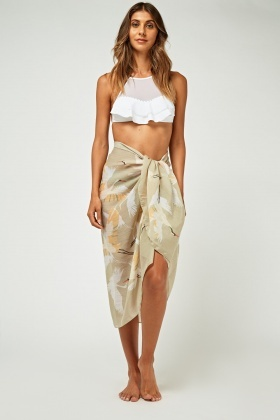 Flamingo Print Sheer Sarong