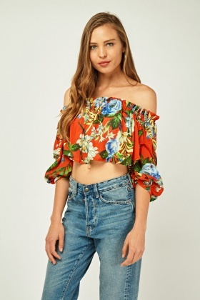 Floral Printed Off Shoulder Crop Top