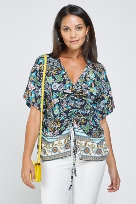 Floral Printed Ruched Detail Top