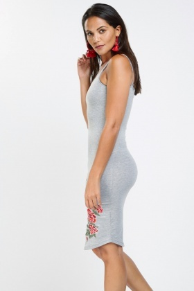 Flower Embroidered Basic Bodycon Dress