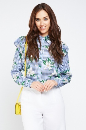 Frilly Floral Gingham Print Shirt