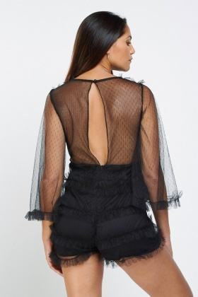 Frilly Mesh Overlay Playsuit