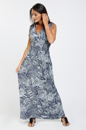 Gathered Ethnic Printed Maxi Dress