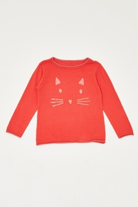 Glittered Cat Face Knitted Top