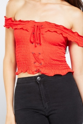 Lace Up Shirred Crop Top