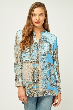 Moroccan Tile Printed Blouse