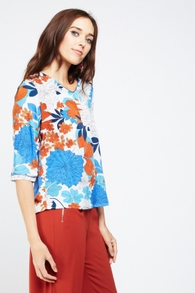 Printed 3/4 Length Sleeve Top