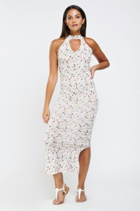 Printed Keyhole Neck Maxi Dress
