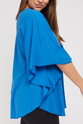 Royal Blue Batwing Sleeve Top