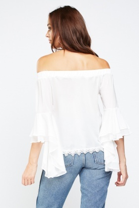 Ruffle Fishtail Sleeve Bardot Top
