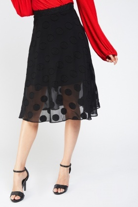 Sheer Polka Dot Skater Skirt