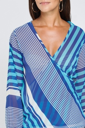 Sheer Striped Wrap Blouse
