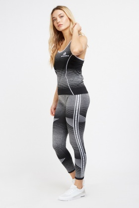Striped Sports Tank And Leggings Set