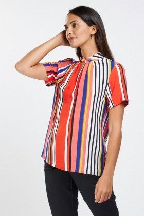 Twisted Candy Striped Shell Top