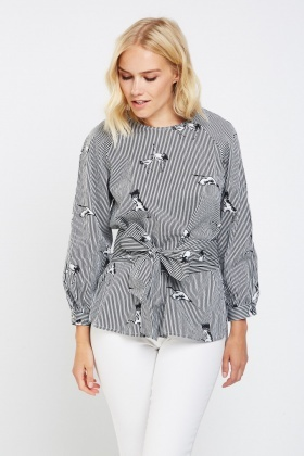 Bird Printed Striped Top